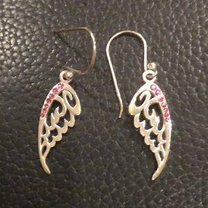 Sterling Silver & Pink Bling Angel Wings Earrings